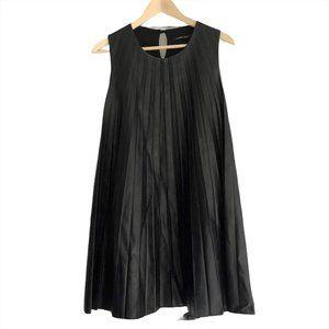 Lauren Vidal Dress Vegan Leather Pleated A-Line